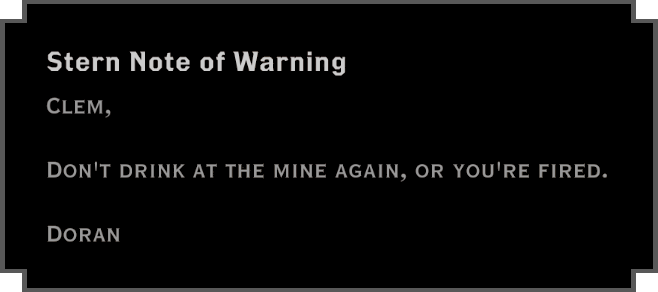 Note: Stern Note of Warning