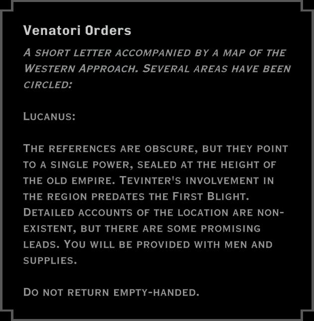 Note: Venatori Orders (to Lucanus)