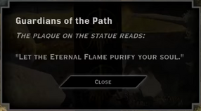 Guardians of the Path Eternal Flame Landmark Text