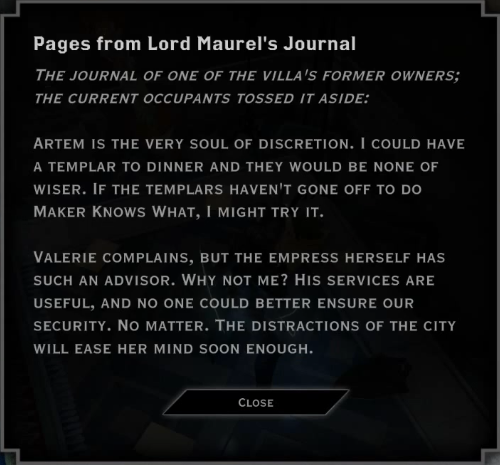 Note: Pages from Lord Maurel's Journal