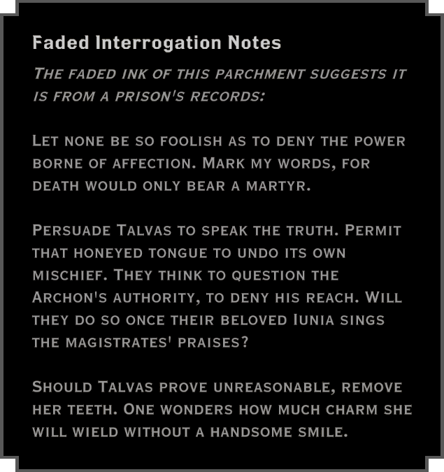Note: Faded Interrogation Notes