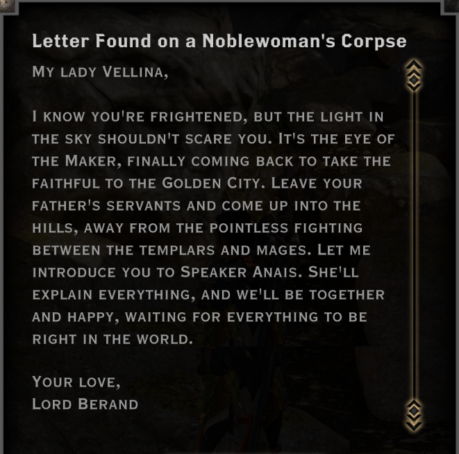 Note: Letter Found on a Noblewoman's Corpse