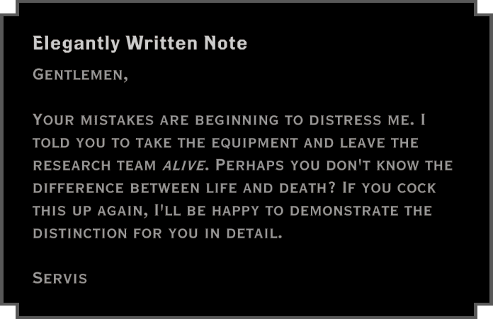 Note: Elegantly Written Note (about research team)
