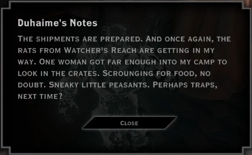 Note: Duhaime's Notes (Watcher's Reach Rats)
