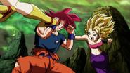 Son Goku Super Saiyan Dios vs. Kale y Caulifla