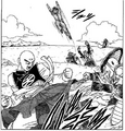 DXRD Caption of Tien kicks off Frog-Face's race soldier while Gohan lures PTO soldiers in the BG, Fukkatsu No F Manga chapter 3