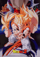 Gogeta y varios enemigos Poster