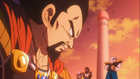 King Vegeta bows in front of King Cold and Frieza as Cold Force Soldier s hold weapons at him