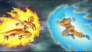 Golden Freezer y Goku super saiyajin azul