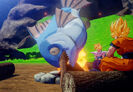DBZ Kakarot Cooking by Campfire SSJFP Goku and SSJFP Gohan roasting a Giant Fish (Before the Cell Games)