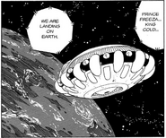 DXRD Caption of King Cold's soldiers announce Mecha-Frieza & King Cold their spaceship has reached Earth (Dragon Ball Manga chapter 136 - The Coming of King Cold)
