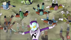 Jaco spins over PTO soldiers (Abo & Cado's race soldier, Appule's race soldeir & Iru's race soldiers) - DXRD Caption of Fukkatso No F