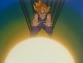 Turles fired blast at gohan and gohan trys to sotp it