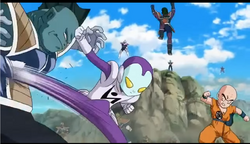 Jaco kicks a Fishman Frieza Soldier in the stomach, Resurrection 'F', IsraeliteVIP pic snap.png