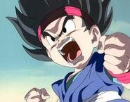Goku Jr. Apunto de transfromarse en super saiyan
