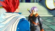 Dragon Ball Xenoverse - Trunks hablando con el guerrero
