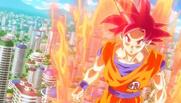 Goku SSJD sobre la ciudad