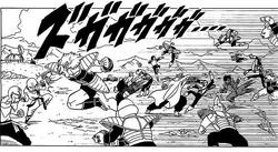 DXRD Caption of Z-Fighters vs. Frieza's 1000 PTO soldiers (Plant race soldier, Zoon-seijin soldier, Aardvark-like soldier Aka's esque, Arqua's esque). Fukkatsu No F Manga chapter 3.png