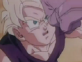 Gohan about to get punched in the face by monster