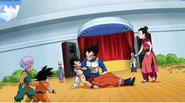 Vegeta atrapa a Goku malherido
