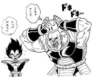 Dragon Garow Lee draws Nappa wearing Super Mario's Super Crown (24-09-2018), Vegeta is shocked