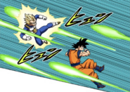 Vegeta e Goku schivano gli attacchi di Granola