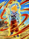 Dokkan Battle Unwavering Will and Newfound Power Super Saiyan Goku card (Story Event New Enemies! Androids in Action - Yardrat Outfit Super Saiyan Goku UR)