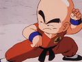 Krillin strikes a fighting pose