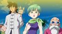 Yamcha, Bulma and Roshi watch SSG Goku's debut in Dragon Ball Z - Battle of Gods