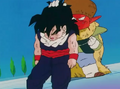 Gohan is feelng to knees3 as salt grabed by the hair