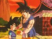 Goku enseñandole a goku jr.que hay que hacer para invocar a shenron