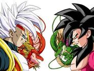 Super Baby 2, Shenlong Rojo, Goku SSJ4 y Shenlong Original