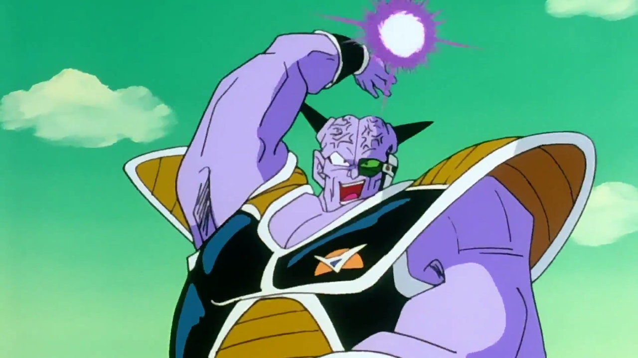 Captain Ginyu launches the first Galaxy Dynamite blast
