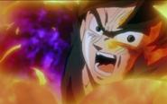 Goku perdiendo la transformacion