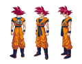Design de Son Gokû en Super Saiyan God (Broly, le film)