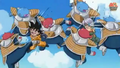 Kado kicks goten in the stomach and abo hits trunks in the face