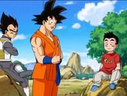 Vegeta, Krilin y Goku conversan