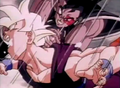 Turles his gohan in the neck truning his eyes wittie and makeing him cough up spit