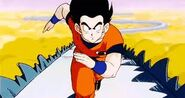 Goku corre en el comino de la serpiente
