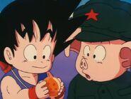 Goku showing oolong dragon ball