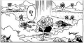 DXRD Caption of Master Roshi defeats some of Frieza's 1000 soldiers (one is Ginyu's race member with different horns shape) - Fukkatsu No F manga chapter 3