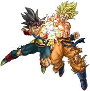 Ilustración de Bardock y Goku Supersaiyano (Toyotaro)