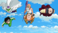 Z-Fighters fly towards the landing area of Frieza's Spaceship in DBS