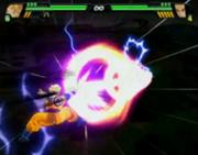 Gohan del Futuro Super saiyajin utilizando el Cañón de Haz Especial en Budokai Tenkaichi 3