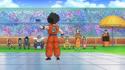 Dragon Ball Heroes trailer - GT aged Krillin brags to his ashamed friends who sit on the Tenkaichi Budokai bench (Bulma, Chi Chi, Yamcha, Puar, Piccolo, Gohan, Videl, and Master Roshi)