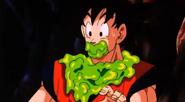 Goku con enzimas sobre él