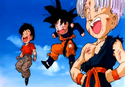 Trunks, Goten and Krillin after their victory