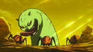 Bah enfrentando a los monstruos arácnidos