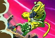 Goku Super Saiyan 4 vs Baby Vegeta Ōzaru Dorado (1)