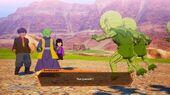 DBZ Kakarot Mysterious Figure Necke protecting Ramu and her father from Saibamen (Sub Story - Stranger Danger)